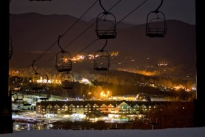 Killington Hotel at Night with Chairlift Winter